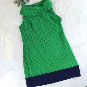 Adrianna Papell Green Lace Rolled Collar Dress